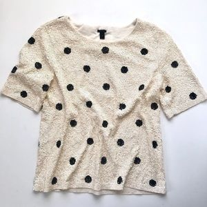 J. Crew Polka-Dot Sequin Top in Cream & Black